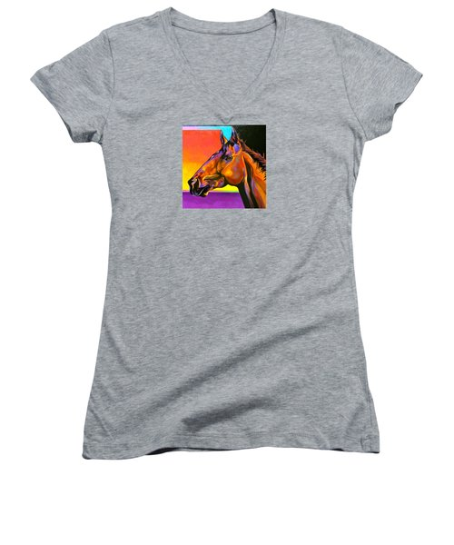 Women's V-Neck T-Shirt (Junior Cut) featuring the painting Maurice by Bob Coonts