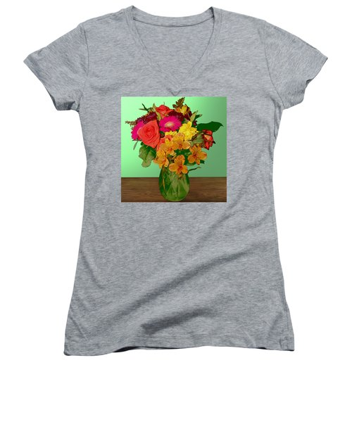 May Flowers Women's V-Neck T-Shirt (Junior Cut)