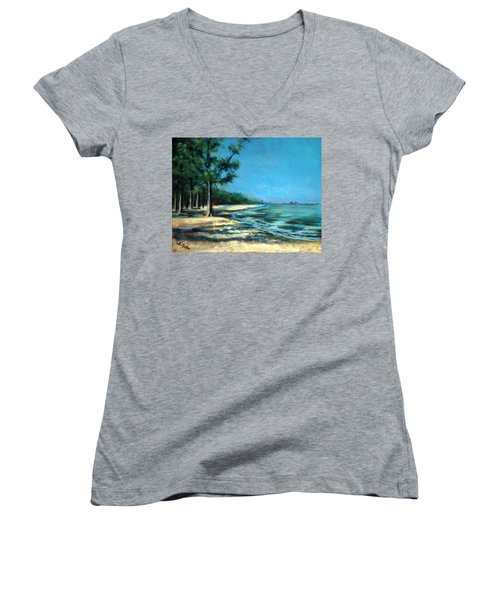 Women's V-Neck T-Shirt (Junior Cut) featuring the painting Maybe A Picnic by Suzanne McKee