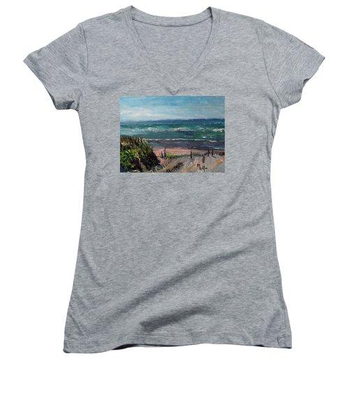 Mayflower Beach Women's V-Neck T-Shirt (Junior Cut) by Michael Helfen