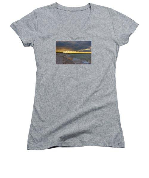 Mayflower Beach Walk Women's V-Neck T-Shirt (Junior Cut) by Amazing Jules