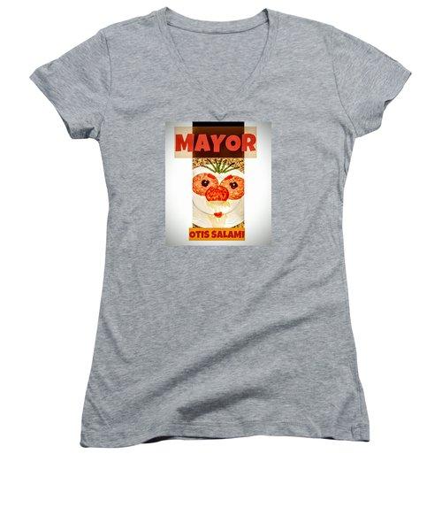 Women's V-Neck featuring the photograph Mayor Otis Salami T-shirt by Jennifer Hotai
