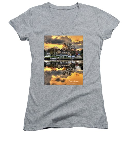 Mays Landing Sunrise Women's V-Neck T-Shirt