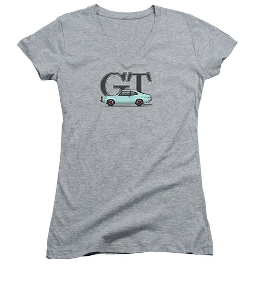 Mazda Savanna Gt Rx-3 Baby Blue Women's V-Neck T-Shirt (Junior Cut) by Monkey Crisis On Mars