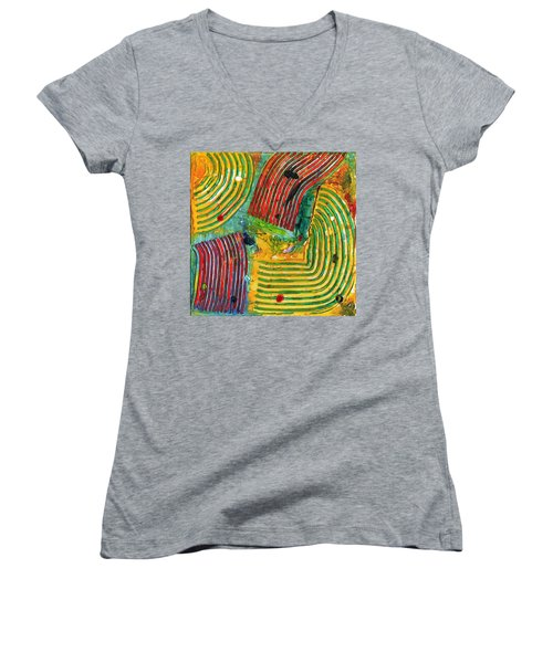 Mazteca Women's V-Neck T-Shirt (Junior Cut) by Phil Strang