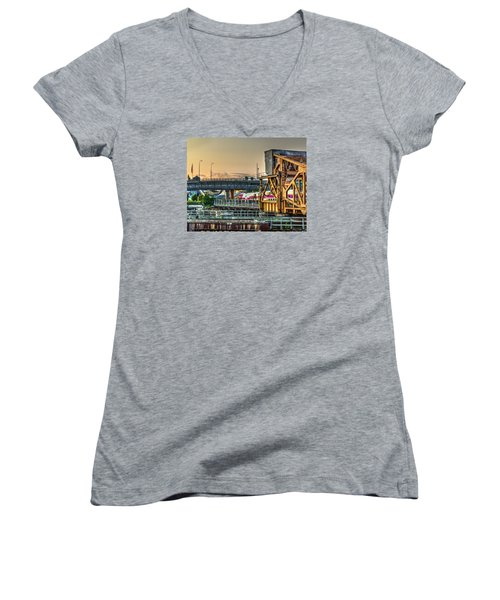 Mbta Bascule Bridge 010 Women's V-Neck T-Shirt