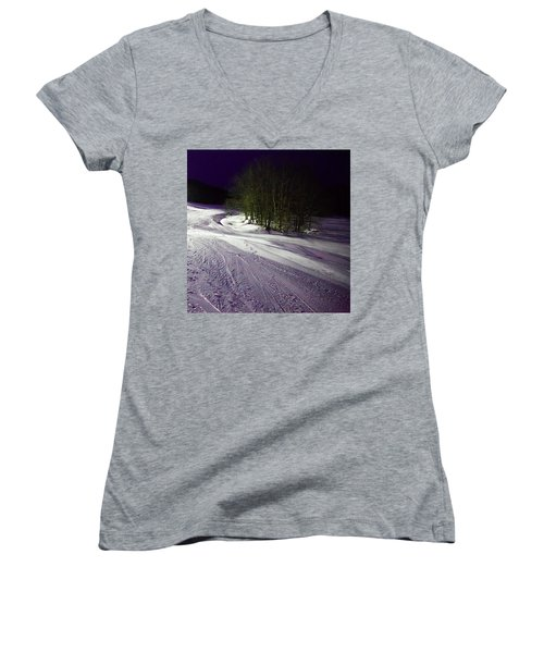 Women's V-Neck T-Shirt (Junior Cut) featuring the photograph Mccauley Evening Snowscape by David Patterson