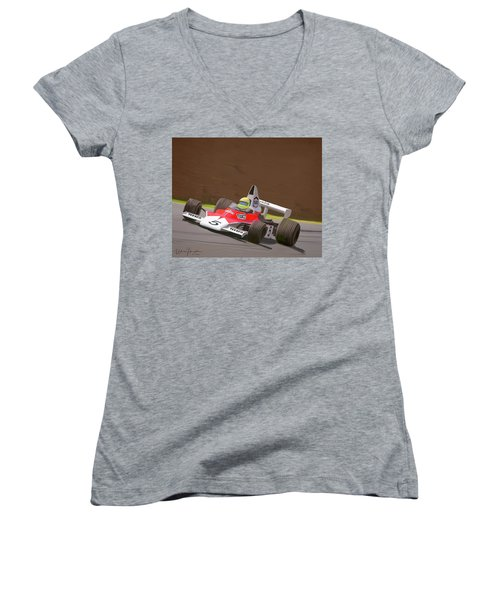 Mclaren M23 Women's V-Neck T-Shirt (Junior Cut) by Wally Hampton