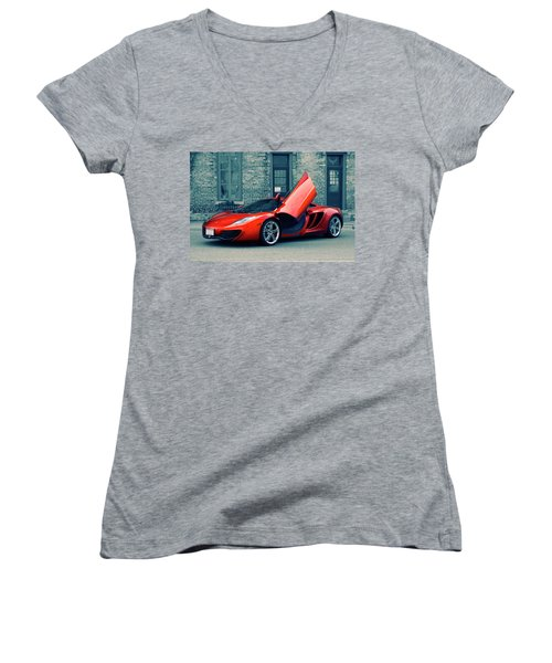 Women's V-Neck T-Shirt (Junior Cut) featuring the photograph Mclaren Mp4-12c by Joel Witmeyer
