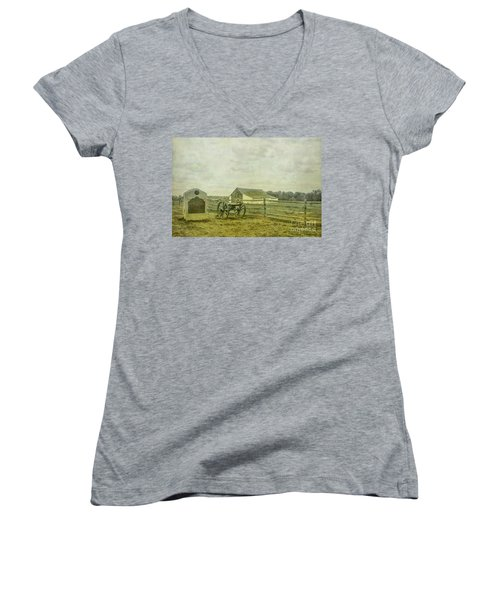 Mcpherson Barn And Cannon Gettysburg  Women's V-Neck T-Shirt (Junior Cut) by Randy Steele