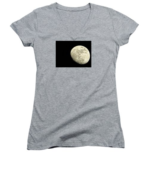 Me And The Moon Tonight Women's V-Neck T-Shirt (Junior Cut) by Nikki McInnes