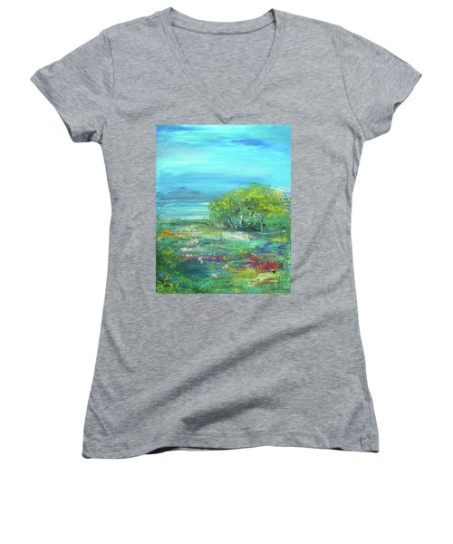 Meadow Trees Women's V-Neck (Athletic Fit)
