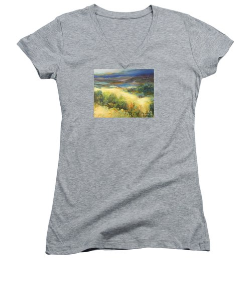 Meadowlands Of Gold Women's V-Neck T-Shirt (Junior Cut) by Glory Wood