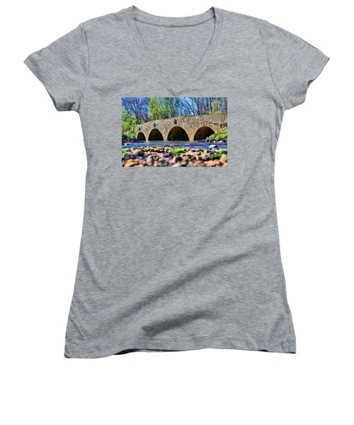 Women's V-Neck T-Shirt (Junior Cut) featuring the photograph Meadows Road Bridge by DJ Florek