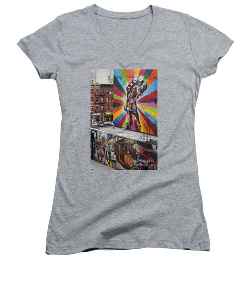 Women's V-Neck featuring the photograph Meatpacking District Nyc by Juergen Held