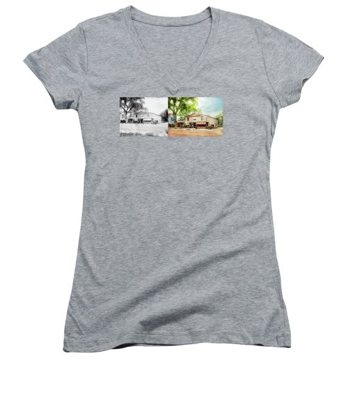Women's V-Neck T-Shirt (Junior Cut) featuring the photograph Mechanic - All Cars Finely Tuned 1920 - Side By Side by Mike Savad
