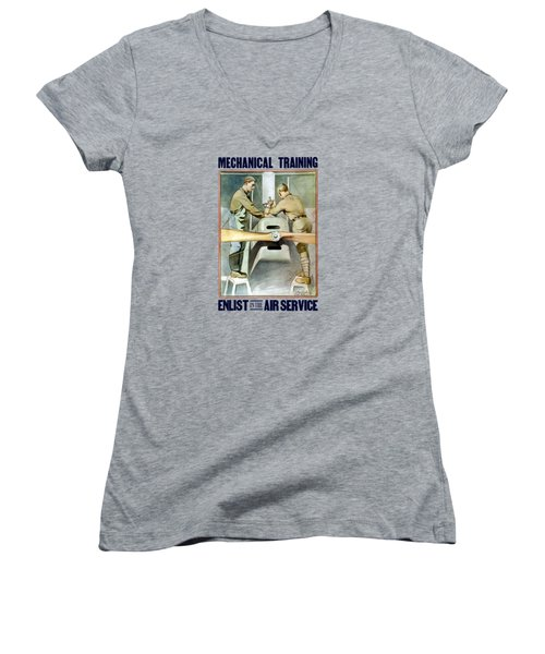 Mechanical Training - Enlist In The Air Service Women's V-Neck (Athletic Fit)