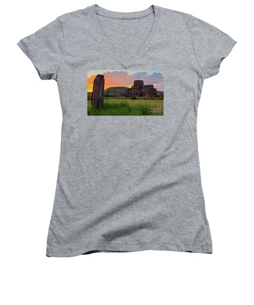 Mediaval Talin's Cathedral At Sunset With Cross Stone In Front, Armenia Women's V-Neck T-Shirt (Junior Cut) by Gurgen Bakhshetsyan