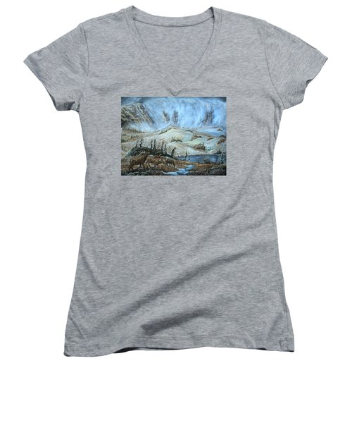 Women's V-Neck T-Shirt (Junior Cut) featuring the painting Medicine Bow Peak In Clouds With Elk by Dawn Senior-Trask