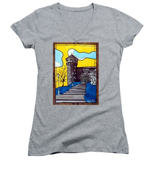 Women's V-Neck T-Shirt (Junior Cut) featuring the painting Medieval Bastion -  Mace Tower Of Buda Castle Hungary By Dora Hathazi Mendes by Dora Hathazi Mendes