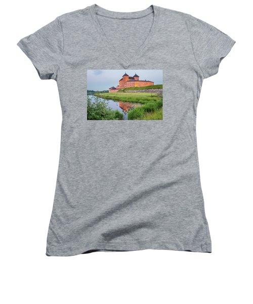 Medieval Castle Women's V-Neck T-Shirt (Junior Cut) by Teemu Tretjakov