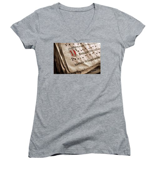 Medieval Choir Book Women's V-Neck T-Shirt (Junior Cut) by Carlos Caetano