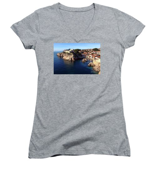 Medieval Fortresses Lovrijenac And Bokar Dubrovnik Women's V-Neck T-Shirt (Junior Cut) by Jasna Dragun