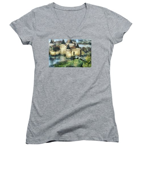 Medieval Knight's Castle Women's V-Neck T-Shirt (Junior Cut) by Sergey Lukashin