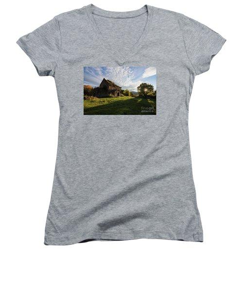 Medieval Tezharuyk Monastery During Amazing Sunrise, Armenia Women's V-Neck T-Shirt