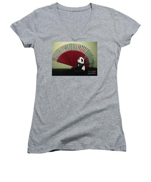 Women's V-Neck T-Shirt (Junior Cut) featuring the photograph Meditation Hour by Ausra Huntington nee Paulauskaite