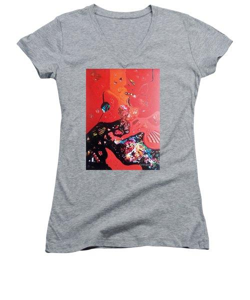 meditation I Women's V-Neck T-Shirt (Junior Cut) by Sanjay Punekar
