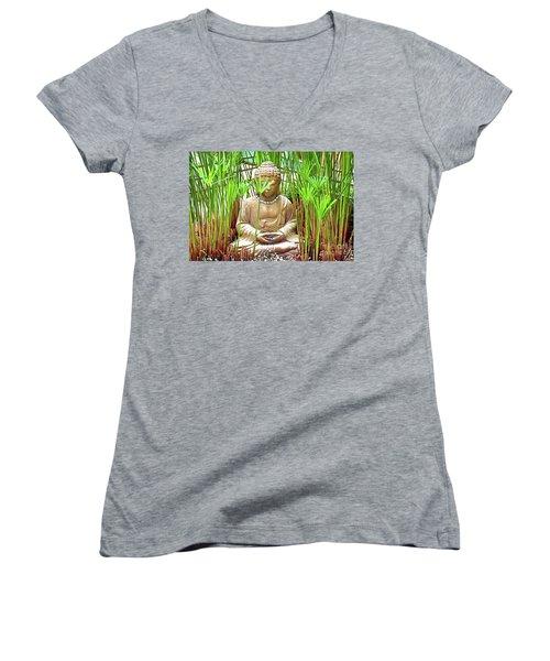 Meditation Women's V-Neck T-Shirt (Junior Cut) by Ray Shrewsberry