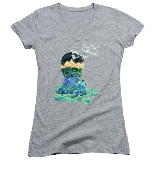 Meditation Women's V-Neck T-Shirt (Junior Cut) by Ruta Dumalakaite