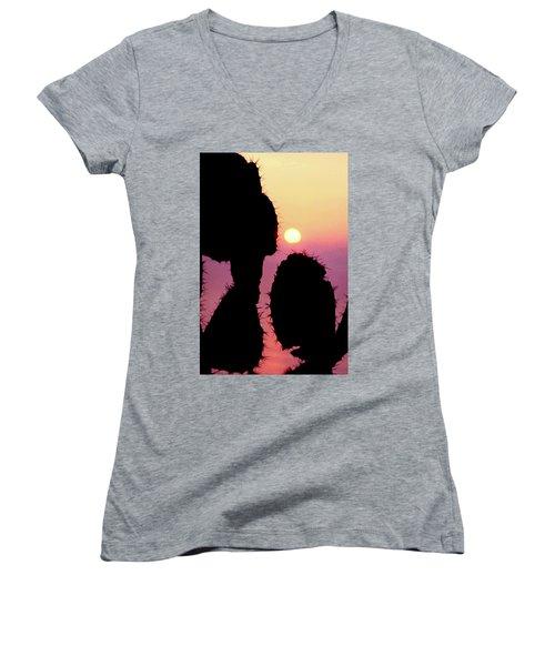 Mediterranean Sunrise Women's V-Neck T-Shirt (Junior Cut) by Robert J Sadler