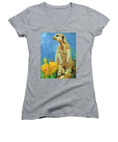 Meerly Curious Women's V-Neck T-Shirt (Junior Cut) by Tom Riggs