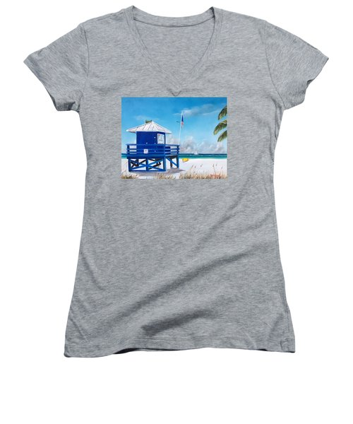 Meet At Blue Lifeguard Women's V-Neck T-Shirt