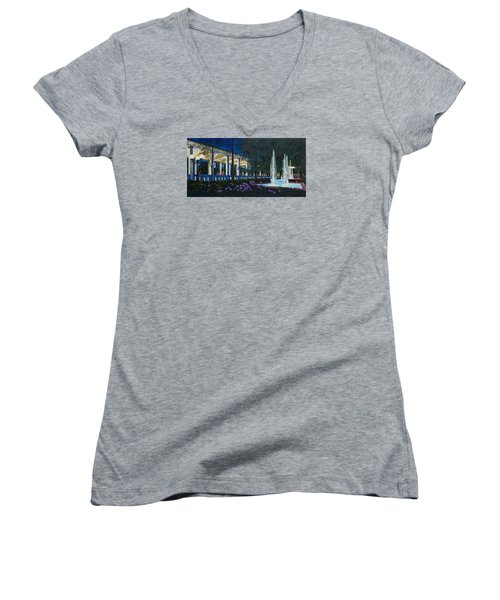 Women's V-Neck T-Shirt (Junior Cut) featuring the painting Meet Me At The Muny by Michael Frank