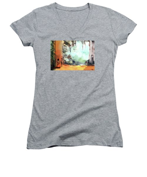 Women's V-Neck T-Shirt (Junior Cut) featuring the painting Meeting On A Date by Anil Nene