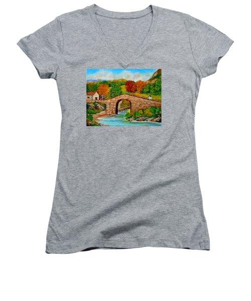 Meeting On The Old Bridge Women's V-Neck T-Shirt