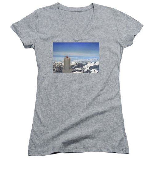 Meeting Table Oil On Canvas Women's V-Neck (Athletic Fit)