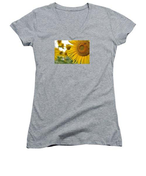 Mellow Yellow Women's V-Neck T-Shirt (Junior Cut) by Joanne Brown