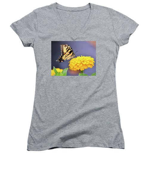Mellow Yellow Women's V-Neck T-Shirt (Junior Cut) by Kathy Kelly