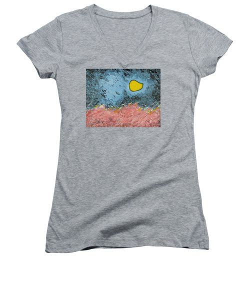 Women's V-Neck T-Shirt (Junior Cut) featuring the painting Melting Moon Over Drifting Sand Dunes by Ben Gertsberg