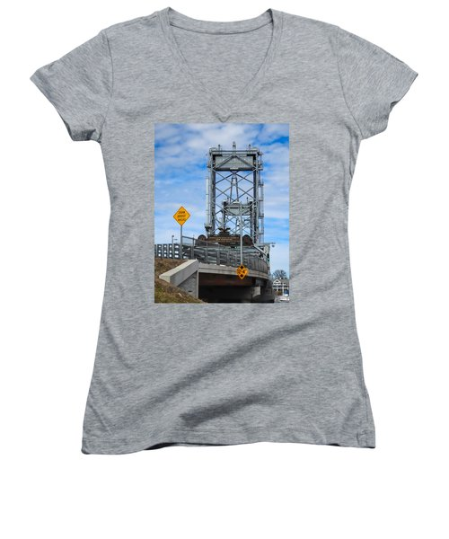 Women's V-Neck T-Shirt (Junior Cut) featuring the photograph Memorial Bridge Portsmouth  Nh by Nancy De Flon