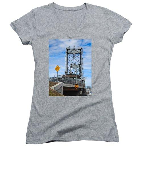 Memorial Bridge Portsmouth  Nh Women's V-Neck T-Shirt