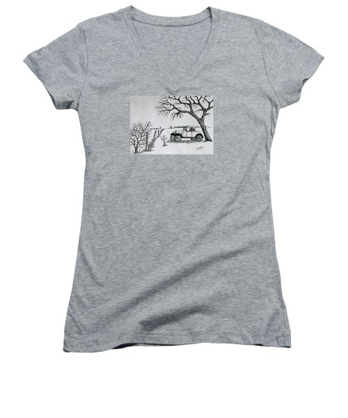 Memories For Sale Women's V-Neck T-Shirt (Junior Cut) by Jack G Brauer