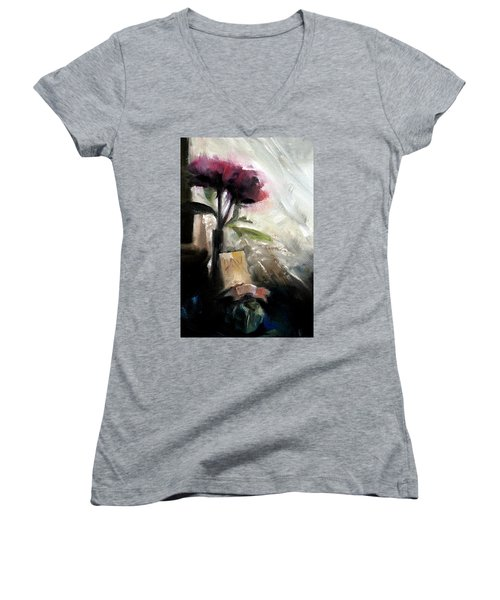 Memories In The Making Timeless Still Life Painting Women's V-Neck T-Shirt (Junior Cut) by Michele Carter