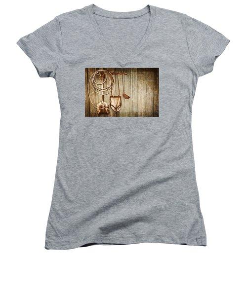 Memories Of Grandpa Women's V-Neck T-Shirt (Junior Cut) by Carolyn Marshall