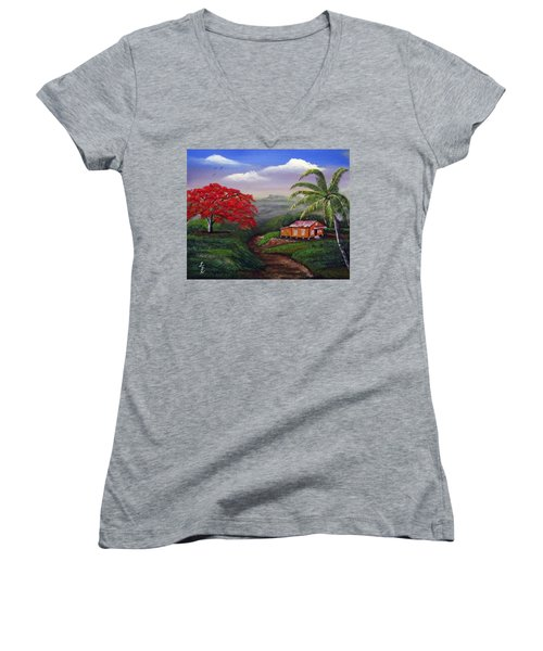Memories Of My Island Women's V-Neck T-Shirt (Junior Cut) by Luis F Rodriguez