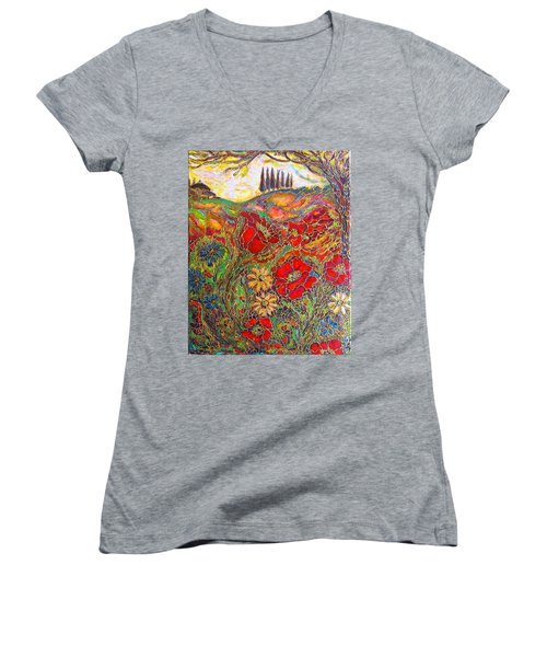 Women's V-Neck T-Shirt (Junior Cut) featuring the painting Memories Of Tuscany by Rae Chichilnitsky